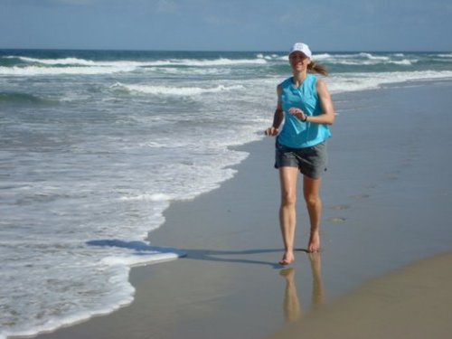 Running in the surf on gorgeous Hatteras Island NC